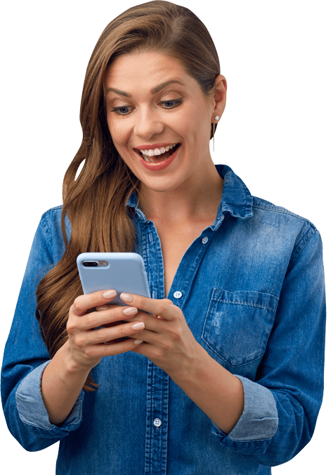 Woman on phone entering a Gyfters Raffle